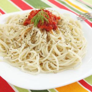 Fenchel-Paprikasoße zu Spaghetti