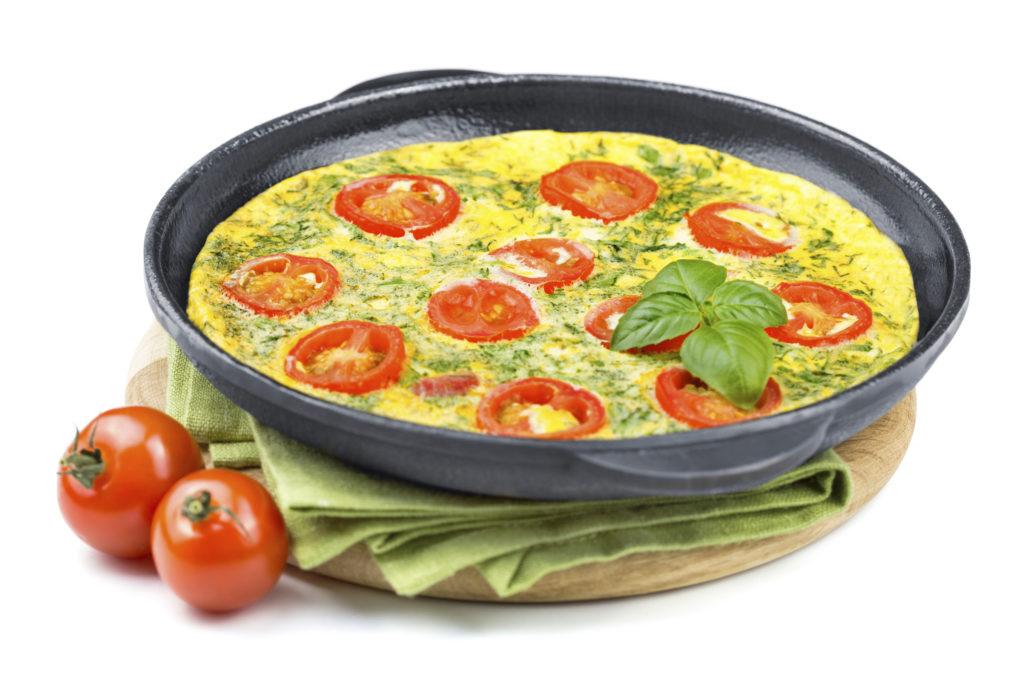 Frittata mit Tomaten und Basilikum