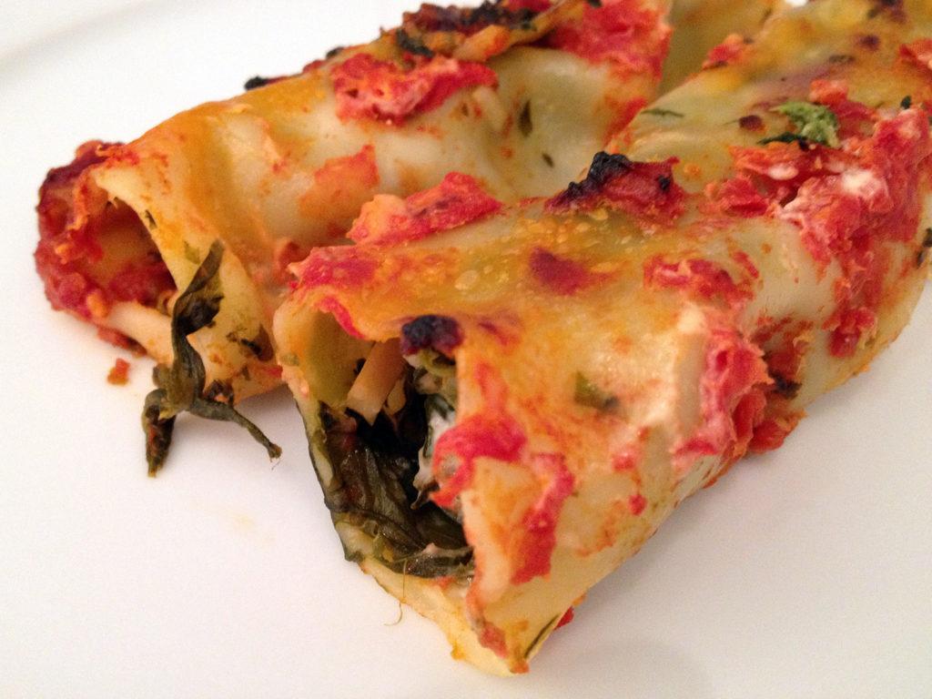 Cannelloni mit Spinat und Krabben