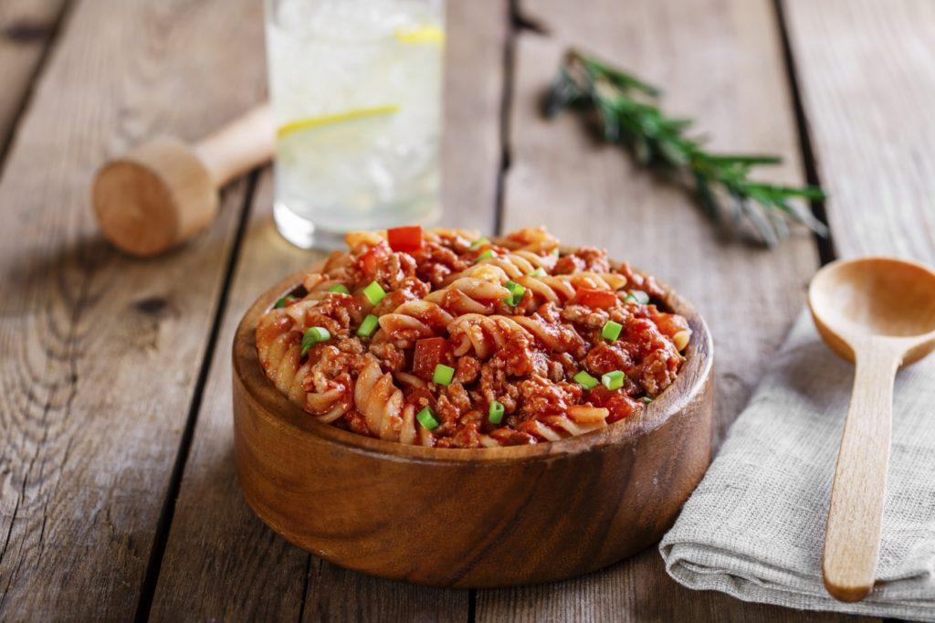 Fusilli mit Hackfleisch und Tomaten