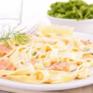 Gorgonzola-Lachs-Soße zu Tagliatelle