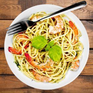 Spaghetti mit scharfen Garnelen