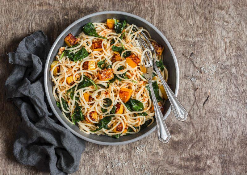 Spaghetti mit Riesenkürbis und Spinat